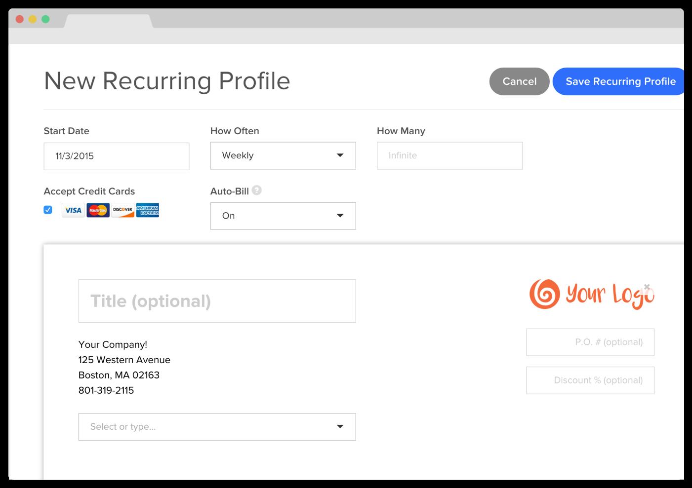 How Do I Set Up Recurring Billing ZipBooks - Quickbooks online recurring invoice
