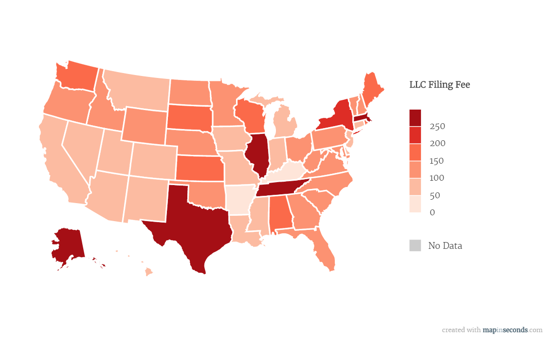 Which state has the lowest LLC application fee?