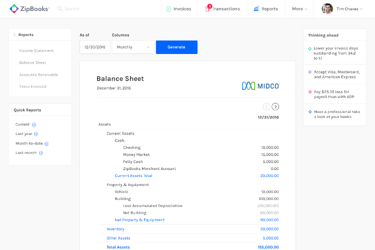 ZipBooks 2.0 Reports