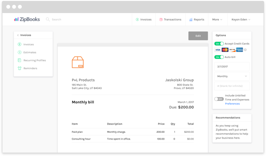 ZipBooks Lets You Create And Send Beautiful Invoices. Automate Everything  With Recurring Auto Bills While ZipBooks Seamlessly Integrates Your Billing  Into ...  Beautiful Invoices