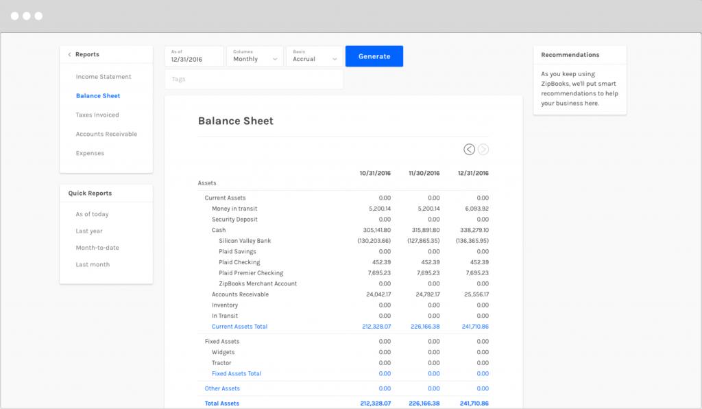 how do i create a balance sheet zipbooks