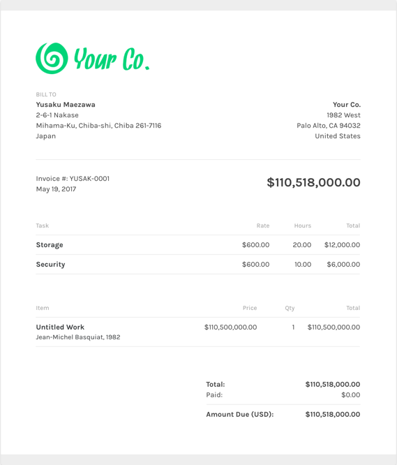 Free Artist Invoice Template ZipBooks - Makeup artist invoice template free for service business