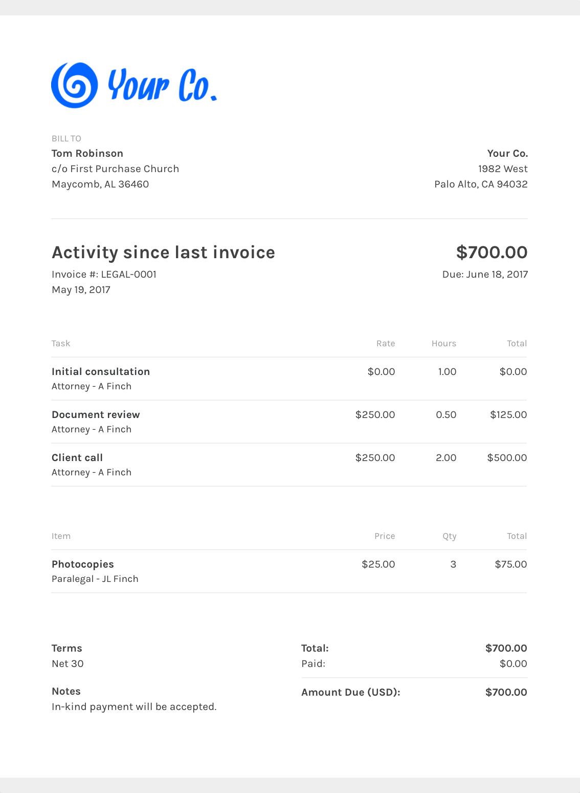 Free Lawyer Invoice Templates Zipbooks