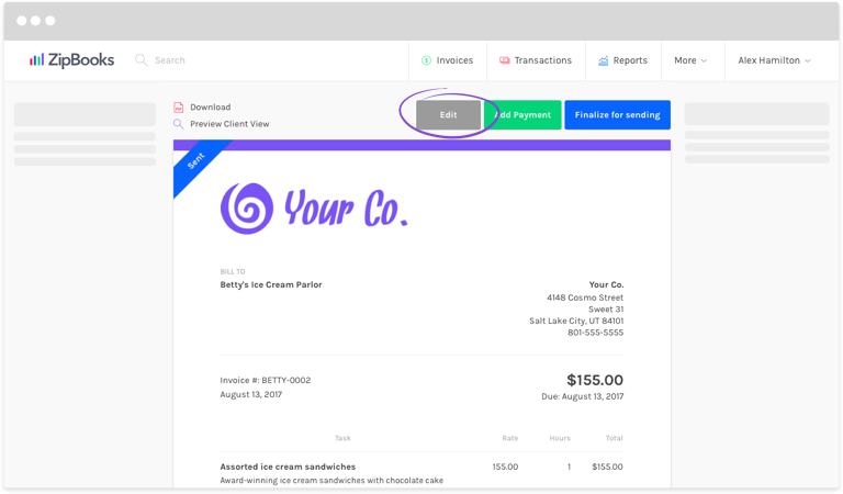 How Do I Send Receipts Instead Of Invoices To My Customers ZipBooks - Create invoice receipt