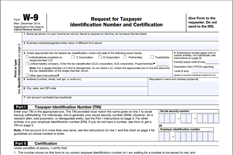 Irs Form W 9 Zipbooks