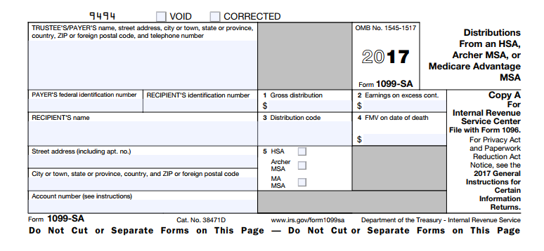 What Is Irs Form 1099 Sa Distributions From An Hsa Archer Msa Or