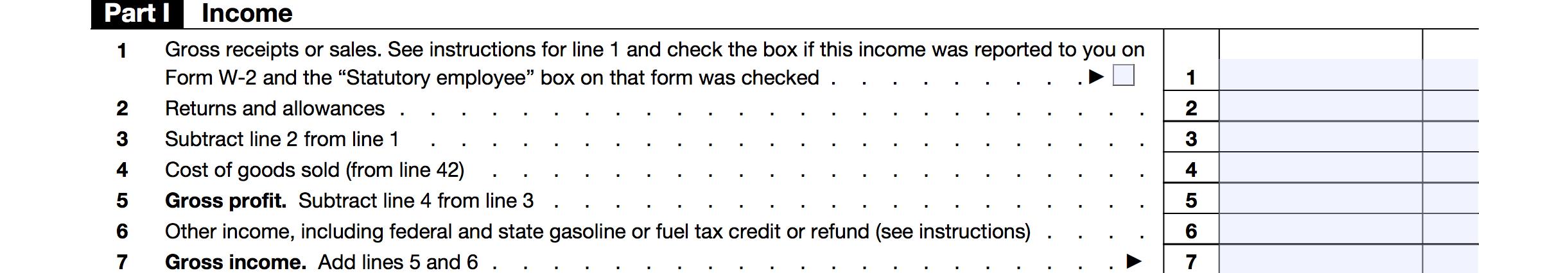 Schedule C Part 1: Gross Income