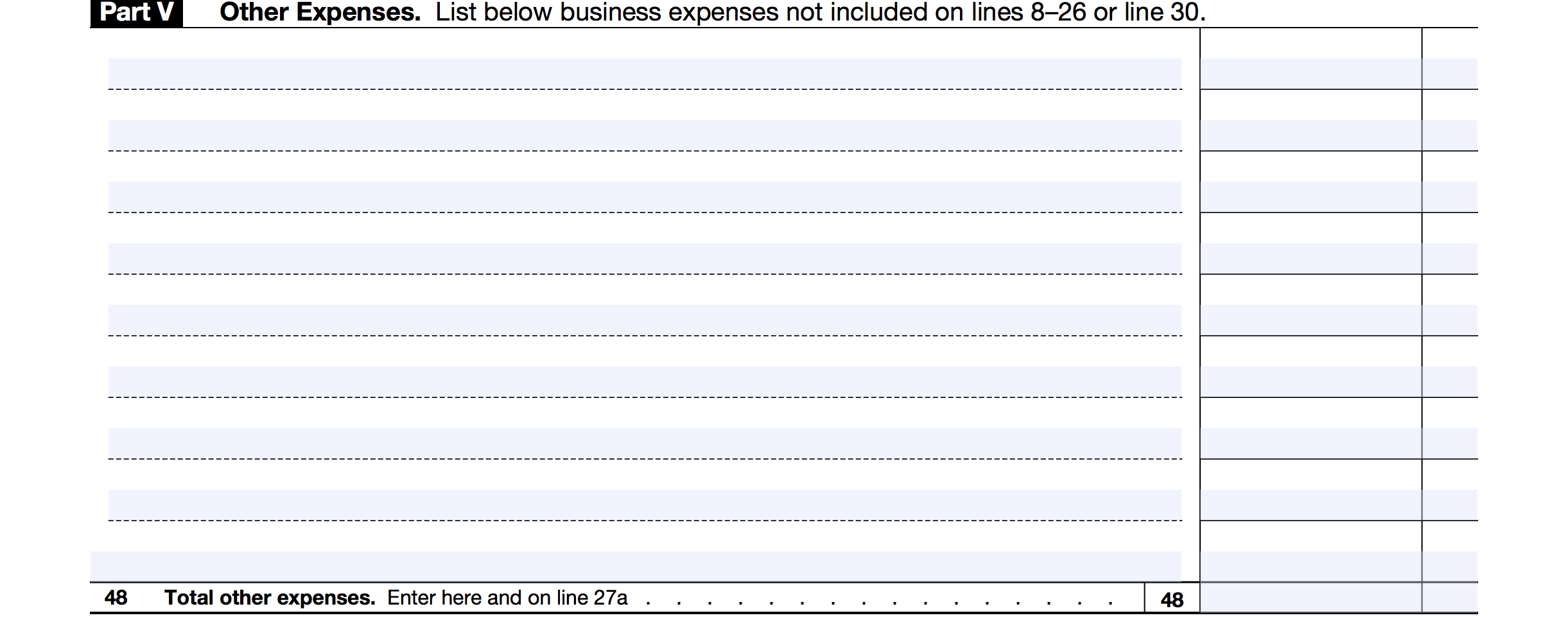 Schedule C Part 5: Other expenses