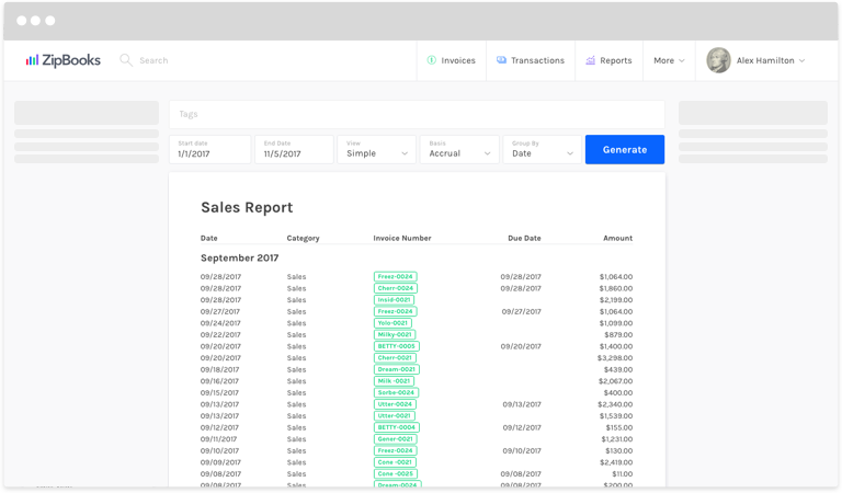 how do i generate a sales report zipbooks