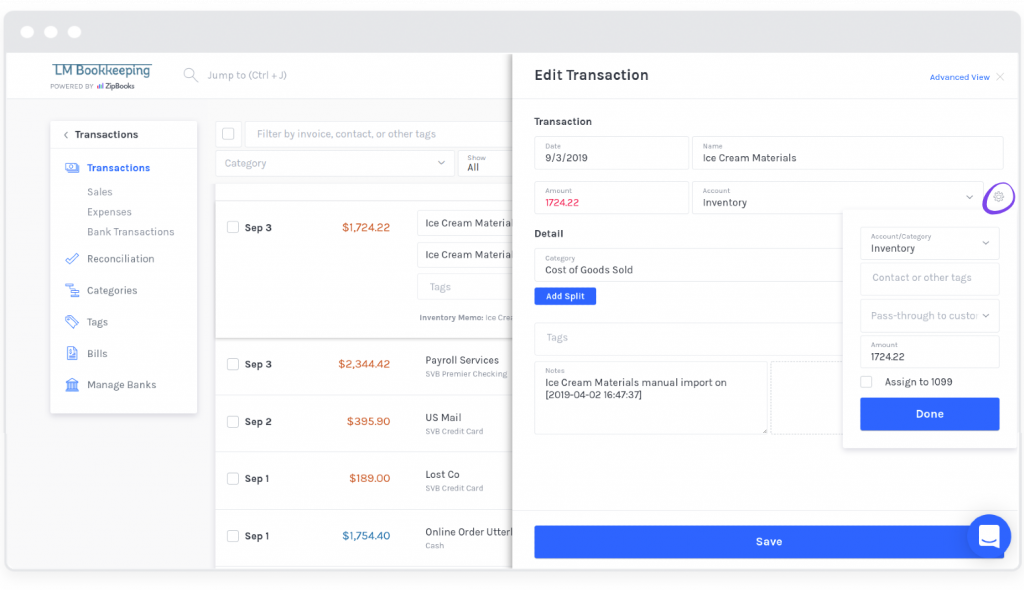 Split Transaction Settings